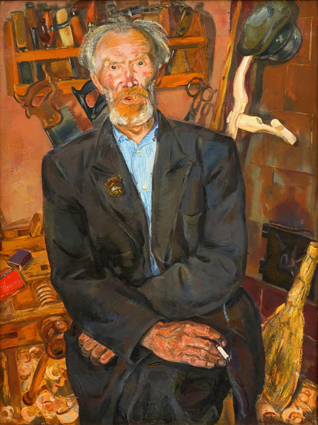 Portrait of the old railway worker Jan Janson Загонек
